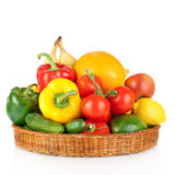 Fruits and vegetables in basket Stock Photos