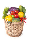 Fruits and vegetables in the basket Royalty Free Stock Image