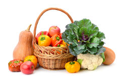 Fruits and vegetables in basket Stock Image