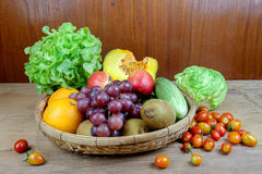 Fruits and vegetables in a basket Royalty Free Stock Images