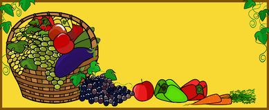 Fruits and vegetables in the basket. royalty free stock photo
