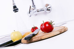 Fruits and vegetables are being prepared. Royalty Free Stock Photos