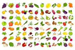 Free Fruits, Vegetables, Berries And Spices Or Mushrooms Vector Isolated Icons Set Stock Photography - 100544272