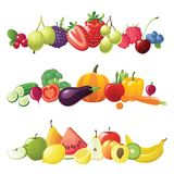 Fruits vegetables and berries borders Royalty Free Stock Image