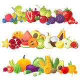 Fruits vegetables and berries borders royalty free illustration