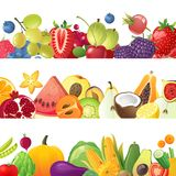Fruits vegetables and berries borders Stock Photography