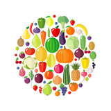 Fruits, vegetables and berries in circle shape. Stock Photo
