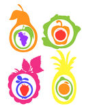 Fruits vegetables berries citrus fruits. Colored silhouettes fruits, vegetables, berries, citrus fruits royalty free illustration
