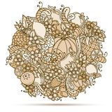 Fruits, vegetables, berries doodle. Healthy food background. Autumn pattern. Royalty Free Stock Image