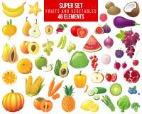 Fruits, vegetables and berries super set stock illustration