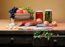 Fruits, vegetables and book Stock Photo