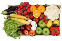 Fruits and vegetables in box from above isolated