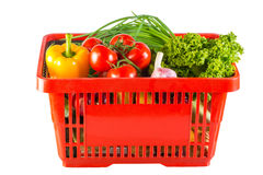 Fruits and vegetables in cart Stock Photography
