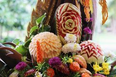 Fruit Carving. Fruits and vegetables Carving, Thai art Stock Photography