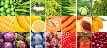 Fruits and vegetables collage. Color fruits and vegetables. Mixed fruits and vegetables. Healthy food concept. Organic food Stock Photos