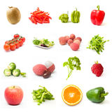 Fruits and vegetables collage Stock Photos
