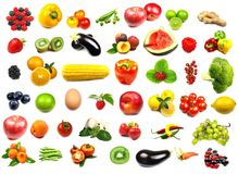 Fruits and vegetables collection Royalty Free Stock Images