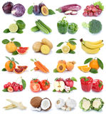 Fruits and vegetables collection  apple orange garlic co Royalty Free Stock Photos