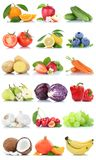 Fruits and vegetables collection  apple oranges carrots. Banana lemon berries fruit on a white background Stock Photography