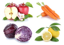 Fruits and vegetables collection isolated apple carrots carrot f Royalty Free Stock Photography