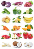 Fruits and vegetables collection isolated apple orange carrots a Royalty Free Stock Images