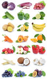 Fruits and vegetables collection isolated apple orange carrots b Royalty Free Stock Image