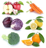Fruits and vegetables collection isolated apple orange carrots c Stock Photos