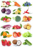 Fruits and vegetables collection isolated apple orange carrots c Royalty Free Stock Photos