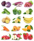 Fruits and vegetables collection isolated apple orange carrots c Stock Photography