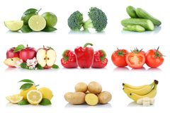 Fruits and vegetables collection isolated apple tomatoes lemon b. Anana colors fresh fruit on a white background royalty free stock photos