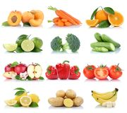 Fruits and vegetables collection isolated apple tomatoes orange Royalty Free Stock Photos