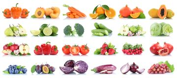 Fruits and vegetables collection isolated apple tomatoes orange pears lettuce colors fresh fruit