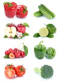 Fruits and vegetables collection isolated apples cherries tomato. Es bell pepper colors fresh fruit on a white background Stock Photos