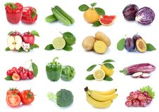 Fruits and vegetables collection isolated apples tomatoes cabbag Royalty Free Stock Photos