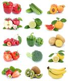 Fruits and vegetables collection isolated apples tomatoes strawb Stock Photos