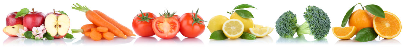Fruits and vegetables collection isolated in a row apple orange Stock Image