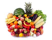 Fruits and vegetables. Collection of fruits and vegetables on white background Stock Photography