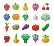Fruits and vegetables colorful icons set. Flat design. Vector Stock Illustration