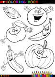Fruits and vegetables for coloring Stock Images