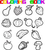 Fruits and vegetables for coloring Royalty Free Stock Image