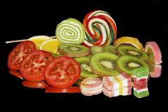 Fruits with vegetables Stock Images