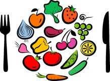 Fruits and vegetables combined in round frame Stock Illustration