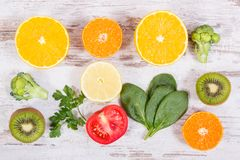 Fruits and vegetables containing vitamin C, fiber and minerals, strengthening immunity and healthy eating Royalty Free Stock Images
