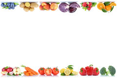 Fruits and vegetables copyspace border copy space apple orange b royalty free stock photography