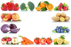 Fruits and vegetables copyspace frame border copy space apple or Stock Image