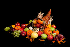 Fruits and vegetables in a cornucopia Stock Photo