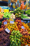 Fruits and vegetables on counter Royalty Free Stock Image