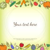 Fruits and vegetables cute banner background template with copy Royalty Free Stock Images