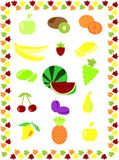 Fruits (vegetables). Different images of fruits from around the world Vector Illustration