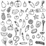 Fruits and vegetables doodle drawing vector Stock Photos
